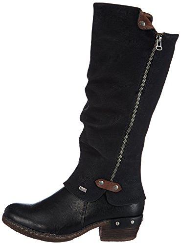 Rieker 93655 Damen Langschaft Stiefel, schwarz (schwarz/schwarz/kastanie/00), 41 - 7