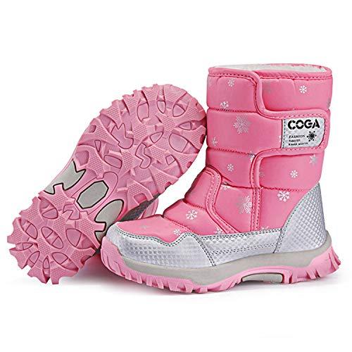 SITAILE Kinderschuhe Mädchen Schuhe Winter Outdoor Warm Schneestiefel Winterstiefel Gefüttert Stiefel Stiefeletten Boots für Jungen Mädchen Unisex Kinder,03-Rosa,eu27 - 3