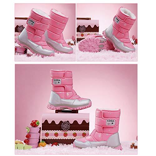 SITAILE Kinderschuhe Mädchen Schuhe Winter Outdoor Warm Schneestiefel Winterstiefel Gefüttert Stiefel Stiefeletten Boots für Jungen Mädchen Unisex Kinder,03-Rosa,eu27 - 6