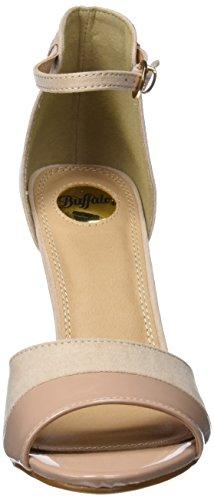 Buffalo Shoes 312339 IMI SUEDE PAT PU, Damen Knöchelriemchen Sandalen, Beige (NUDE 01), 37 EU - 2
