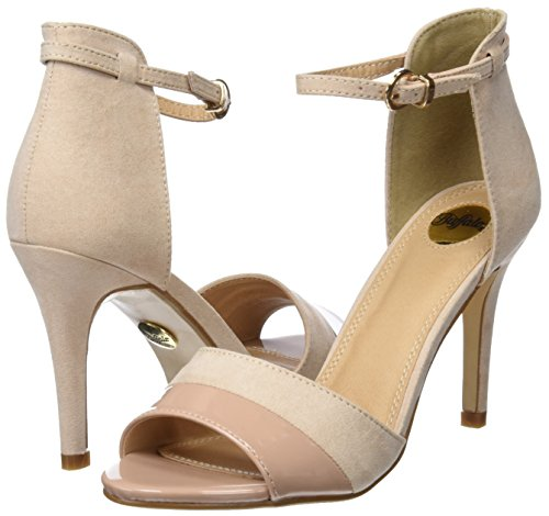 Buffalo Shoes 312339 IMI SUEDE PAT PU, Damen Knöchelriemchen Sandalen, Beige (NUDE 01), 37 EU - 7