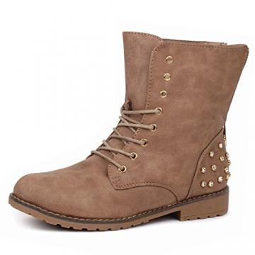 best-boots Damen Stiefelette Winter Boots Schnürer Stiefel warm gefüttert Khaki 1115 Größe 37 - 1