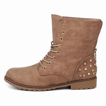 best-boots Damen Stiefelette Winter Boots Schnürer Stiefel warm gefüttert Khaki 1115 Größe 37 - 2