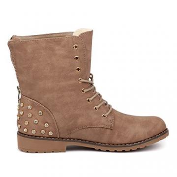 best-boots Damen Stiefelette Winter Boots Schnürer Stiefel warm gefüttert Khaki 1115 Größe 37 - 3
