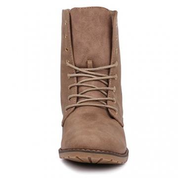 best-boots Damen Stiefelette Winter Boots Schnürer Stiefel warm gefüttert Khaki 1115 Größe 37 - 4