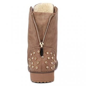 best-boots Damen Stiefelette Winter Boots Schnürer Stiefel warm gefüttert Khaki 1115 Größe 37 - 5