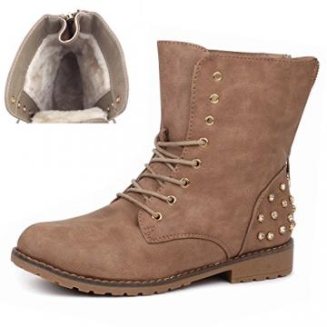 best-boots Damen Stiefelette Winter Boots Schnürer Stiefel warm gefüttert Khaki 1115 Größe 37 - 6