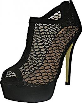 Damen High Heels Party Plateau Pumps Peep Toes Pastell Spitze Größe 38, Farbe Schwarz - 1