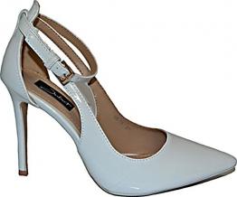 Damen Pumps Spitze High Heels Schuhe Lack Glitzer Elegant Peep-Toes Hochzeit Stiletto Party Pumps Größe 38, Farbe Weiss - 1