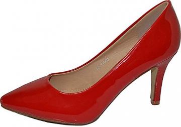 Damen Pumps Spitze Pastell High Heels Schuhe Lack Glitzer Elegant Peep-Toes Hochzeit Größe 39, Farbe Rot - 1