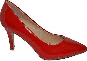 Damen Pumps Spitze Pastell High Heels Schuhe Lack Glitzer Elegant Peep-Toes Hochzeit Größe 39, Farbe Rot - 2