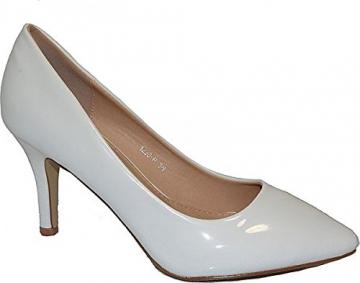 Damen Pumps Spitze Pastell High Heels Schuhe Lack Glitzer Elegant Peep-Toes Hochzeit Größe 39, Farbe Rot - 3