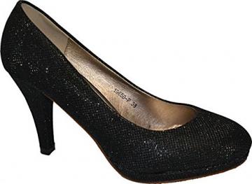 Damen Pumps Spitze Pastell High Heels Schuhe Lack Glitzer Elegant Peep-Toes Hochzeit Größe 39, Farbe Rot - 7