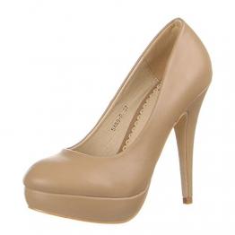 Damen Schuhe, 5489-P, PUMPS, SCHLICHTE PLATEAU HIGH HEELS, Synthetik in hochwertiger Lederoptik, Hellbraun, Gr 39 - 1