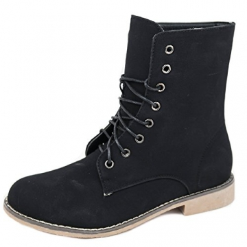 Damen Stiefeletten Stiefel Boots Schnürstiefel 1178 (39, 5208 schwarz) - 1