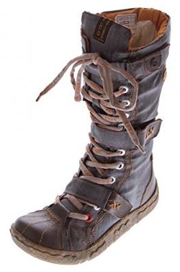 Leder Stiefel TMA Damen Winter Schuhe gefüttert Braun Damenstiefel im used look Gr. 39 - 1