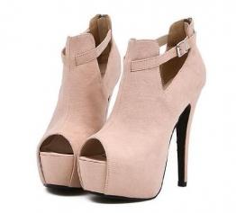 Mailanda Designer High Heels Pumps Party Damenschuhe Plateau Peep Toe Peeptoes Sandalen Ankle Boots mit Riemchen - 1