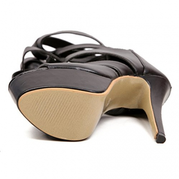 Oasap Women Sexy Black Strappy Zippered Platform High Heel PU Stiletto Sandals - 7