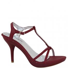 Aparte Luxus Sandalette mit Strass Riemchensandalette Beige, Gelb, Camel, Creme, Blau, Grau, Rot, Pink, Braun Damenschuhe V1469 (39, Rot) - 1