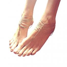 Tinksky Barfuß Sandale Frauen Mädchen Tassel Style Fuss Schmuck Fußkette Kette - 1