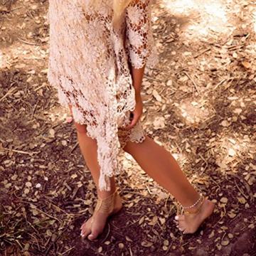 Tinksky Barfuß Sandale Frauen Mädchen Tassel Style Fuss Schmuck Fußkette Kette - 2