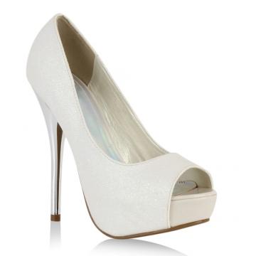 damen pumps high heels wei schuhe. Black Bedroom Furniture Sets. Home Design Ideas