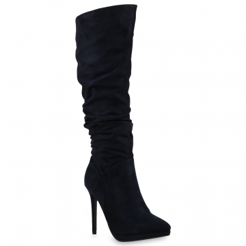 Damen Stiefel High Heels - Dunkelblau